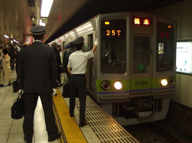 京王新線新宿駅4番線 都営10-280F急行橋本行き表示確認(研修)