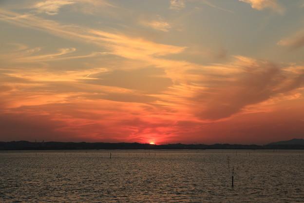 浜名湖に沈む夕日