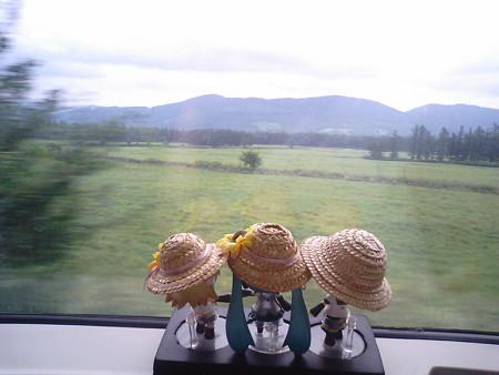 落合→新得間、狩勝信号所付近。昔の日本三大車窓の一つ、十勝平野の...