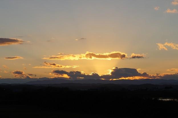 川原の夕日
