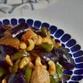 鶏ムネと茄子とピーマンの甘辛酢炒め