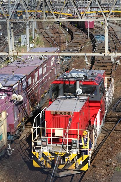 隅田川貨物ターミナル・陸橋上でHD300-5号機の入れ替え作業を見学
