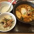 Photos: 広島産牡蠣の辛口チゲ(半玉うどん入り)てりやきチキンご飯セット