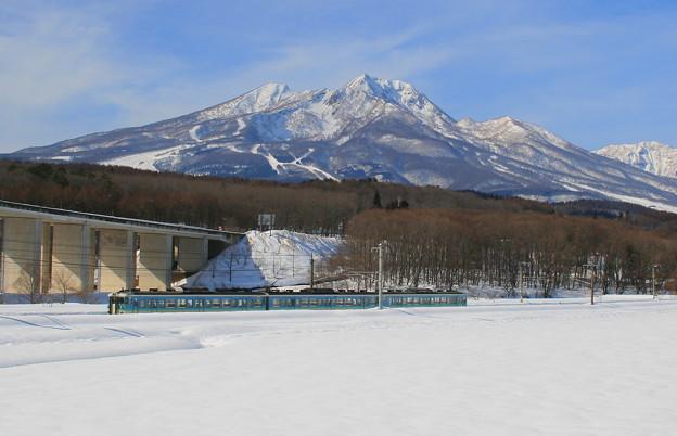 妙高山と信越線列車