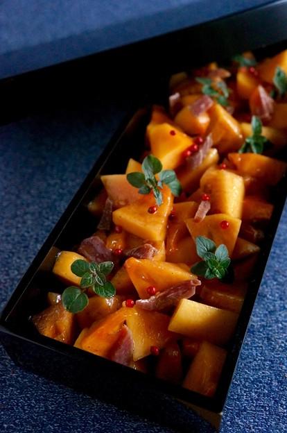写真: 柿と生ハムのマリネ