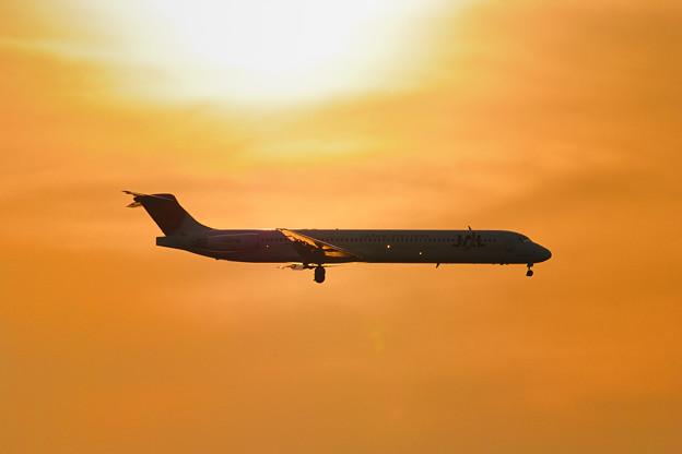 夕日の中を飛ぶMD-81