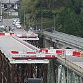 写真: 十津川村折立の仮橋開通!