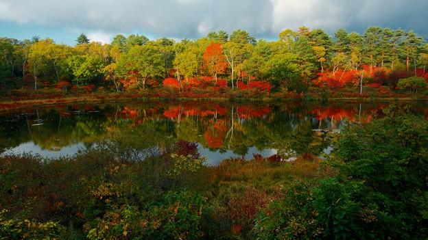 秋燃ゆる高原の湖