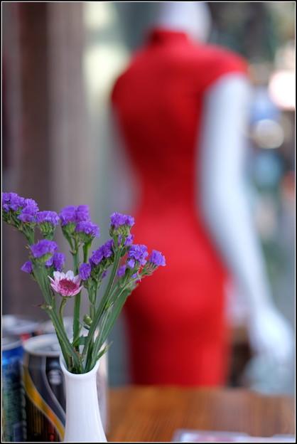 赤いチャイナドレス