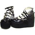写真: ブラック ロリータ靴 ハイヒール  PU