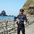 写真: 竹島の警備隊員 Policeman on Dokdo Island
