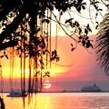 マニラ湾沈まぬ夕陽と客船の出港
