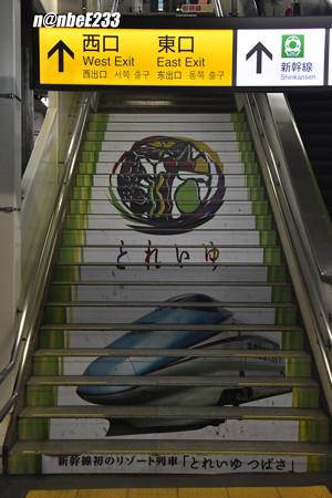 階段を利用した「とれいゆつばさ」の広告
