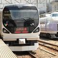 E257系かいじ108号とE351系スーパーあずさ11号、甲府駅同時発車♪