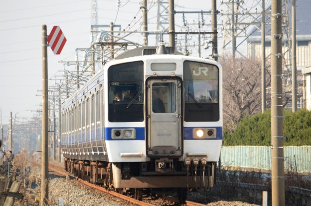415系1500番台K540編成水戸線交直切替デッドセクション進入