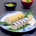 写真: 今晩は、鯖の棒寿司、しっとり京あげ巻き巻き寿司、甘藍の塩麹漬け、粕汁