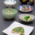 写真: 今晩は、真鯛の菜花焼き、あやめかぶらの漬物、小松菜と京揚げの煮浸し、里芋味噌田楽、真鯛の松前蒸し、ご飯