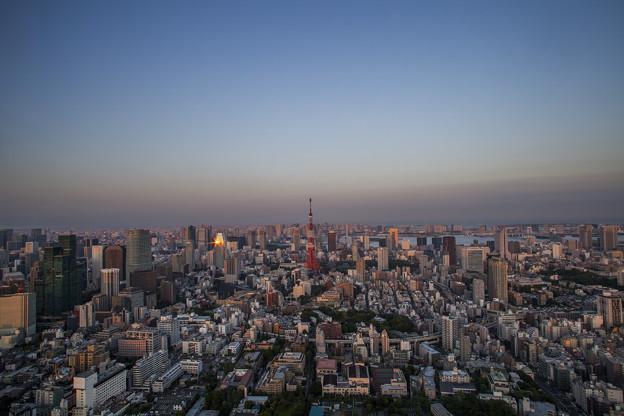 在東京遠處的一點返光