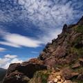 青い空、白い雲、そして岩峰!