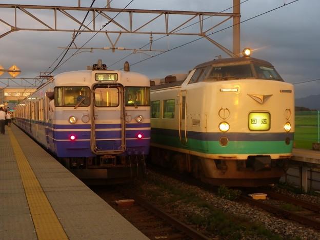 115系新・新潟色&485系新潟車T15編成 新発田駅前商店街ミステリー列車 返却回送