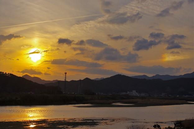 写真: 幻日・太陽柱?