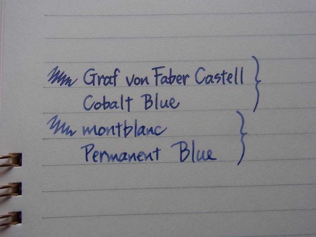 GRAF von FABER CASTELL - Cobalt Blue comparison Montblanc Permanent Blue