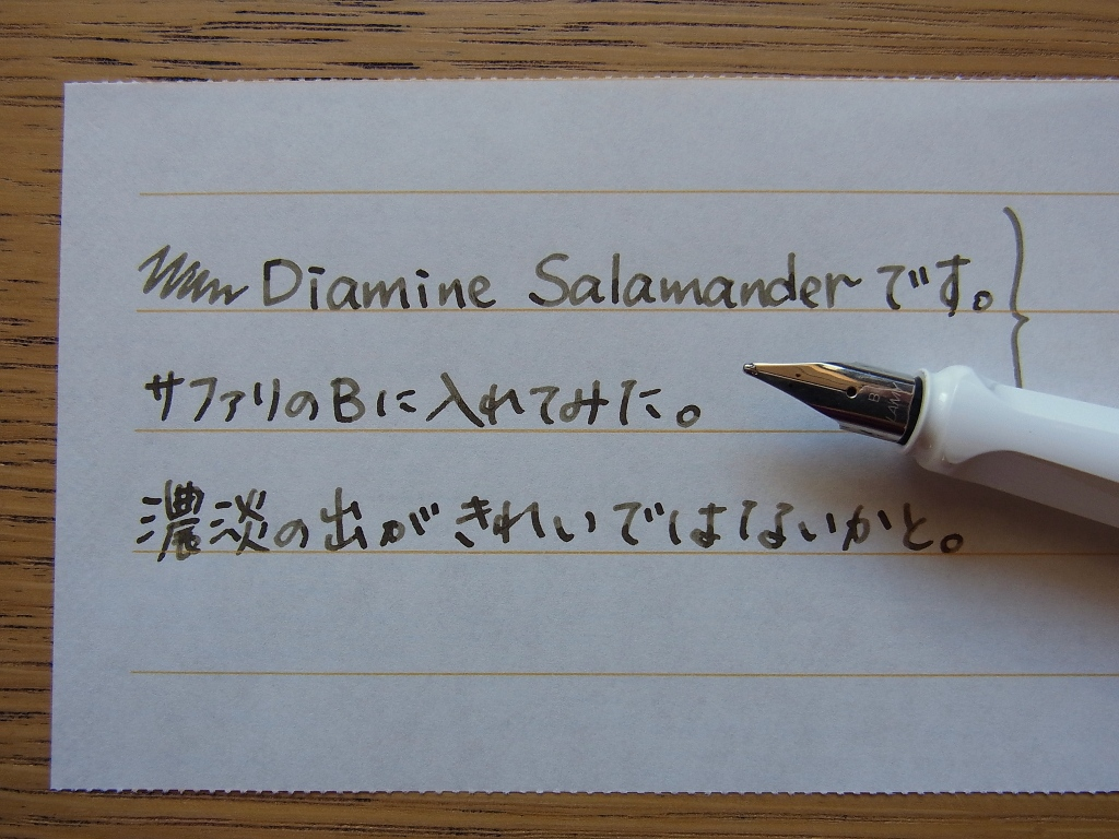 Diamine Salamander handwriting by Safari (B)