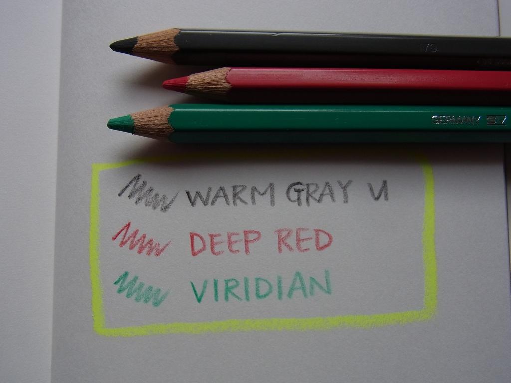 Faber Castell Albrecht Durer - Warm Grey VI & Deep Red & Viridian handwriting