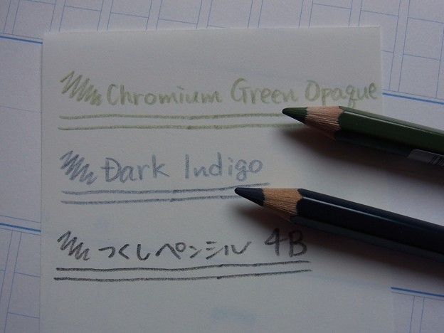 Faber Castell Albrecht Durer - Dark Indigo & Chromium Green Opaque handwriting