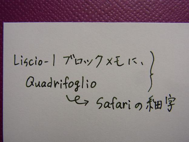 Lamy Safari (F) & Quadrifoglio & Liscio-1 Block Memo handwriting