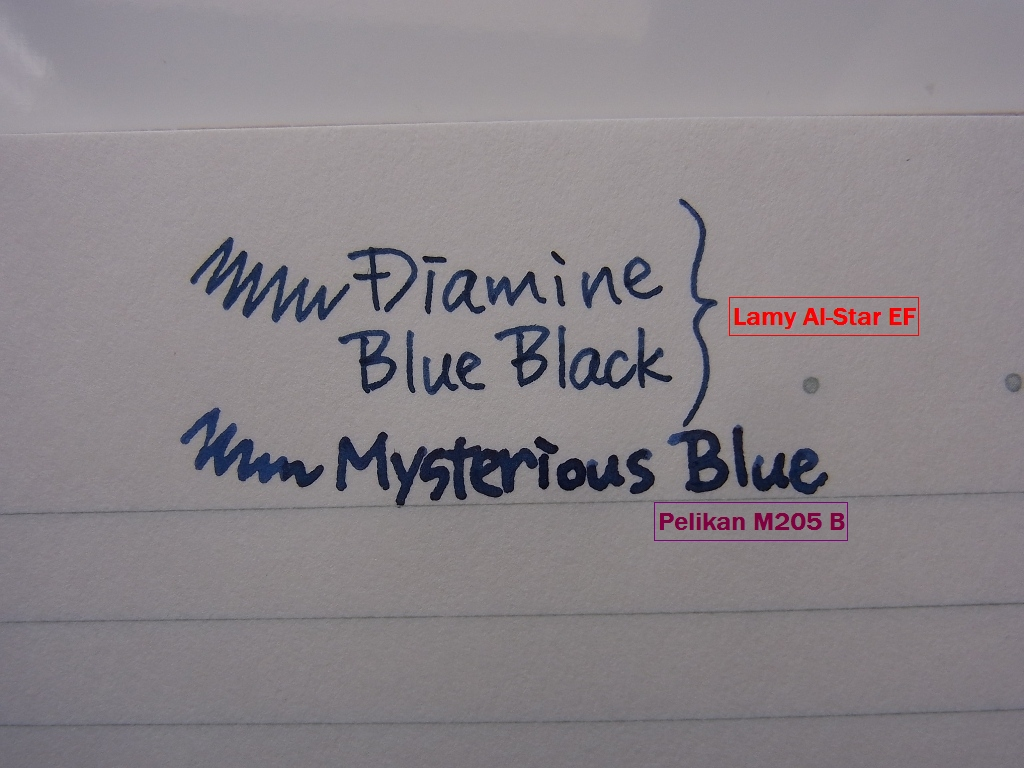Diamine BlueBlack vs Waterman Mysterious Blue