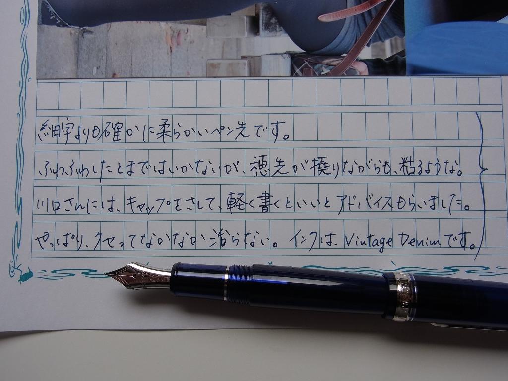 プラチナ #3776 センチュリー シャルトルブルー ロジウム 細軟 筆致#1