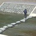 飛び石で対岸に渡ると芭蕉の句碑あり