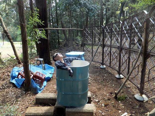 ダブルドラム缶風呂設置完了