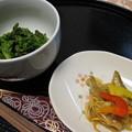 写真: 菜の花の辛子和えとワカサギ南蛮漬け