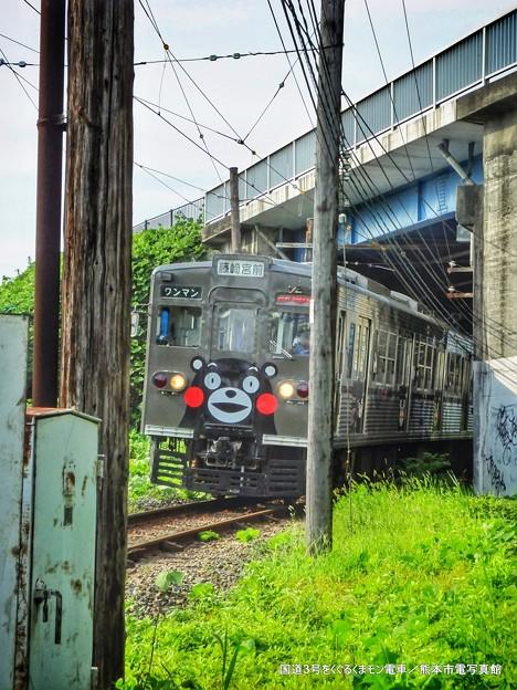 国道3号をくぐるくまモン電車。