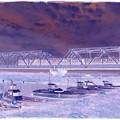 鉄橋を渡る列車 手取川