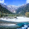 紅葉の梓川と穂高連峰
