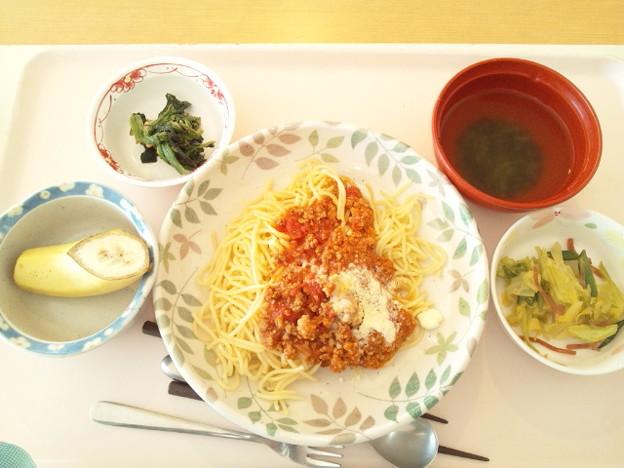 写真: 2月17日昼食(ミートソース) #病院食