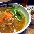 写真: 【昨日の夜飯】岡山市北区下中野の、とりの助 下中野店 冬季限定 マイルドチキンカレー味噌と、豚ご飯。 思ったより味噌味を感じないで普通に美味しく食べれた。 勿論、豚ご飯は残りのスープにw