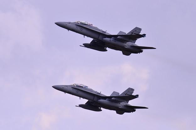 岩国から来ていた米海兵隊VMFA-533hawks F/A-18Dホーネット 厚木基地R/W01テイクオフ・・20150117