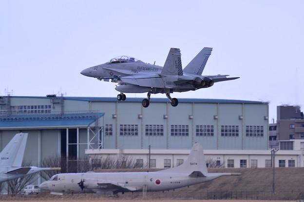 ローカルを実施して厚木基地へ VMFA(AW)-533hawks ED00 F/A-18Dホーネット ランディング・・20150117