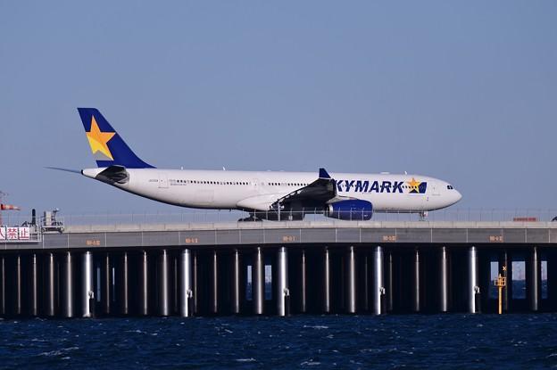羽田D滑走路へラストフライトの日 SKYMARK エアバスA330・・20150131