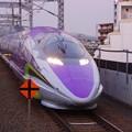 Photos: 撮って出し。。朝の小倉駅進入。。エヴァンゲリオン仕様500系(^^)。。11月21日