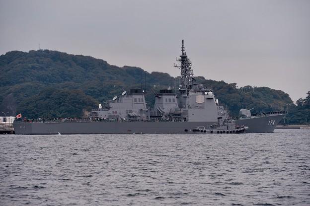 横須賀港を出港する護衛艦きりしま。。観艦式へ。。10月18日