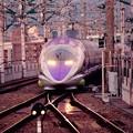 Photos: 夜が明けて小倉駅・・博多から到着 エヴァ仕様500系・・20151121