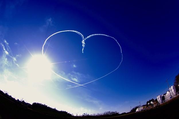 新田原基地航空祭予行。。ブルーインパルス 魚眼で見るバーティカルキューピット。。20151205