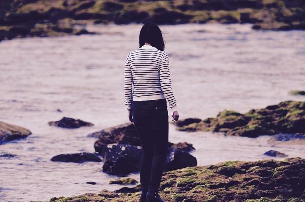 沖縄嘉手納の海岸沿いを。。散歩女子。。20160211