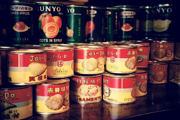 よく食べた記憶の。。桃缶と貝の缶詰め。。江戸東京たてもの園 20160313