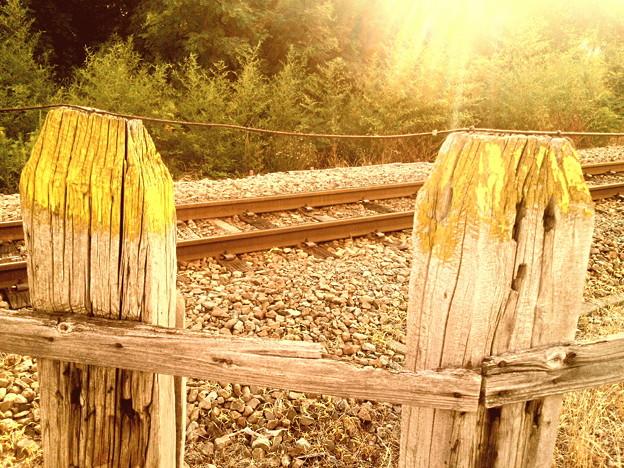 鉄路と枕木柵~アンティーク調に